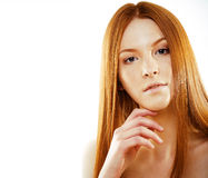 Beauty young redhead woman with red flying hair, funny ginger fr Stock Image