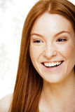 Beauty young redhead woman with red flying hair, funny ginger fr Royalty Free Stock Photos