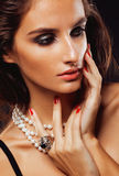 Beauty young sencual woman with jewellery close up Royalty Free Stock Photo