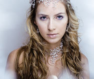 Beauty young snow queen in fairy flashes Royalty Free Stock Photos