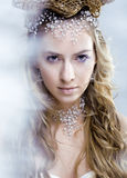 Beauty young snow queen in fairy flashes. Crown on her head Stock Image