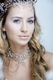 Beauty young snow queen in fairy flashes with Royalty Free Stock Photos