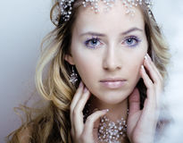 Beauty young snow queen in fairy flashes with crown on her head Royalty Free Stock Images