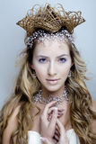 Beauty young snow queen in fairy flashes with hair Stock Photos