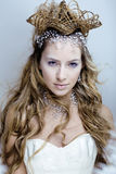 Beauty young snow queen in fairy flashes with hair Stock Images