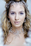Beauty young snow queen with hair crown on her head, complicate hairstyle, winter concept Royalty Free Stock Photos