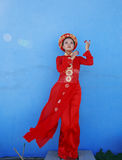 Beauty young vietnamese woman in red national Stock Image