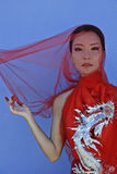 Beauty young vietnamese woman in red national Royalty Free Stock Image