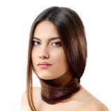 Beauty young woman with beautiful long brunette hair Royalty Free Stock Images