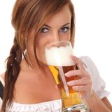 Woman with beer. Beauty young woman with beer royalty free stock photography
