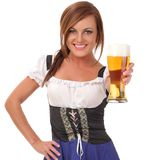 Woman with beer. Beauty young woman with beer stock photography