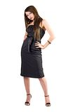 The beauty young woman in black dress. royalty free stock image