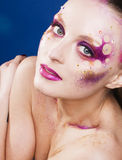 Beauty young woman with creative make up, mystery tinsel. Beauty young woman with creative conceptual make up, mystery tinsel Royalty Free Stock Photography