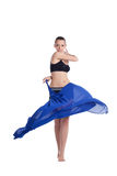 Beauty young woman dance with fabric Stock Photography