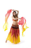 Beauty young woman dance with fantail Royalty Free Stock Images
