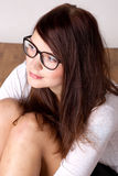 Beauty young woman in eyeglasses Stock Image