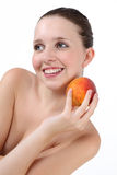 Beauty Young Woman with Fresh Clean Skin and peach Royalty Free Stock Photos