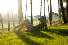 Beauty young woman on golf fiel relaxing Royalty Free Stock Image