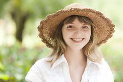 Beauty young woman with hat Royalty Free Stock Images