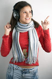Beauty young woman with headphones Royalty Free Stock Photography
