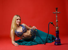 Beauty young woman with hookah Stock Photography