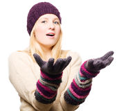 Beauty Young Woman In Gloves And Cap Stock Image