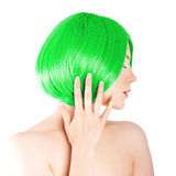 Beauty young woman with luxurious green hair. Girl with fresh sk Stock Image