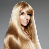 Beauty young woman with luxurious long blond hair. Haircut with Royalty Free Stock Images