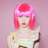 Beauty young woman with pink hair Royalty Free Stock Photography