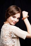 Beauty Young Woman Portrait Closeup. Beautiful Model Girl Face. Stock Image
