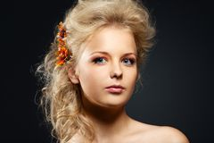 Beauty young woman portrait with hair style Royalty Free Stock Image