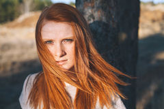 Beauty Young Woman with Red Hair in Golden Field at Sunset. Royalty Free Stock Image