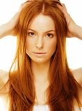 Beauty young woman with red hair isolated Royalty Free Stock Photo