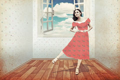 Beauty young woman in room. Vintage collage Royalty Free Stock Photography