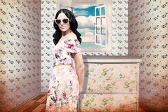 Beauty young woman in room. Art collage Stock Photography
