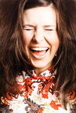 Beauty young woman scream. Portrait of a Beauty young woman with brown hairs scream Royalty Free Stock Images