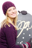 Beauty young woman with snowboard Royalty Free Stock Image