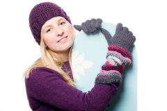 Beauty young woman with snowboard Royalty Free Stock Photos