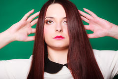 Beauty young woman in straight long hair. Stock Photos