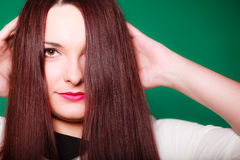 Beauty young woman in straight long hair. Royalty Free Stock Photos