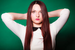 Beauty young woman in straight long hair. Royalty Free Stock Images
