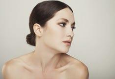 Beauty young woman studio shot close up portrait Stock Image