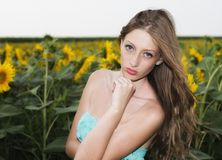 Beauty young woman in sunflower field Royalty Free Stock Photos