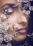 Beauty young woman throw white lace close up. Bride under veil Royalty Free Stock Images
