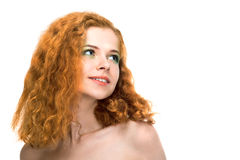 Beauty young woman on white background Royalty Free Stock Photo
