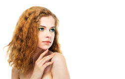 Beauty young woman on white background Stock Image