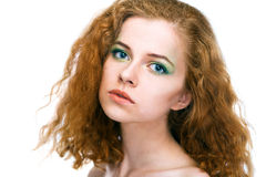 Beauty young woman on white background Stock Photos