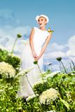 Beauty young woman in white dress Stock Photos