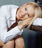 Beauty young woman in white shirt at home Royalty Free Stock Photos