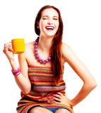 Beauty young woman with yellow cup Royalty Free Stock Photo
